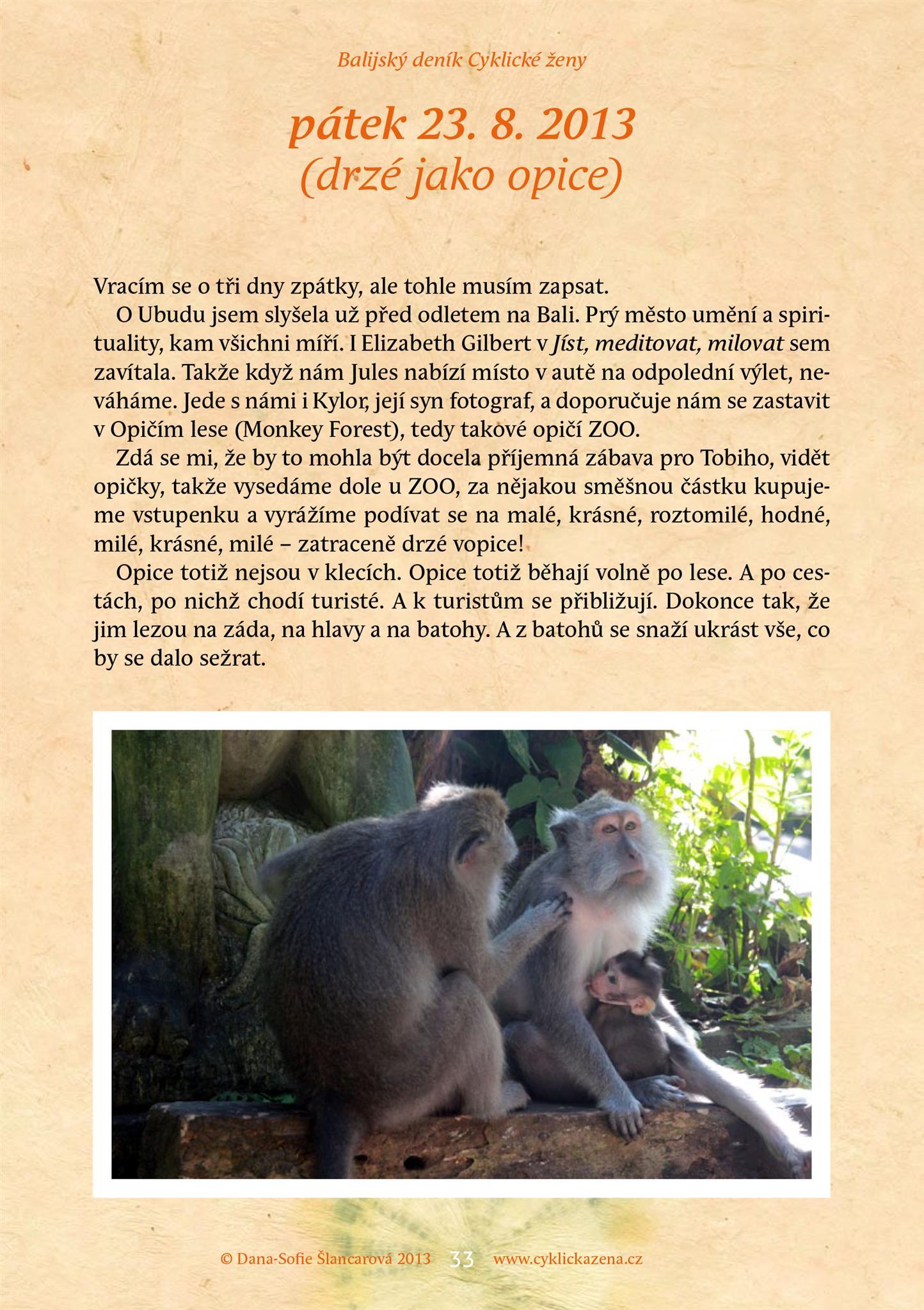 Balijský deník Cyklické ženy, str. 33