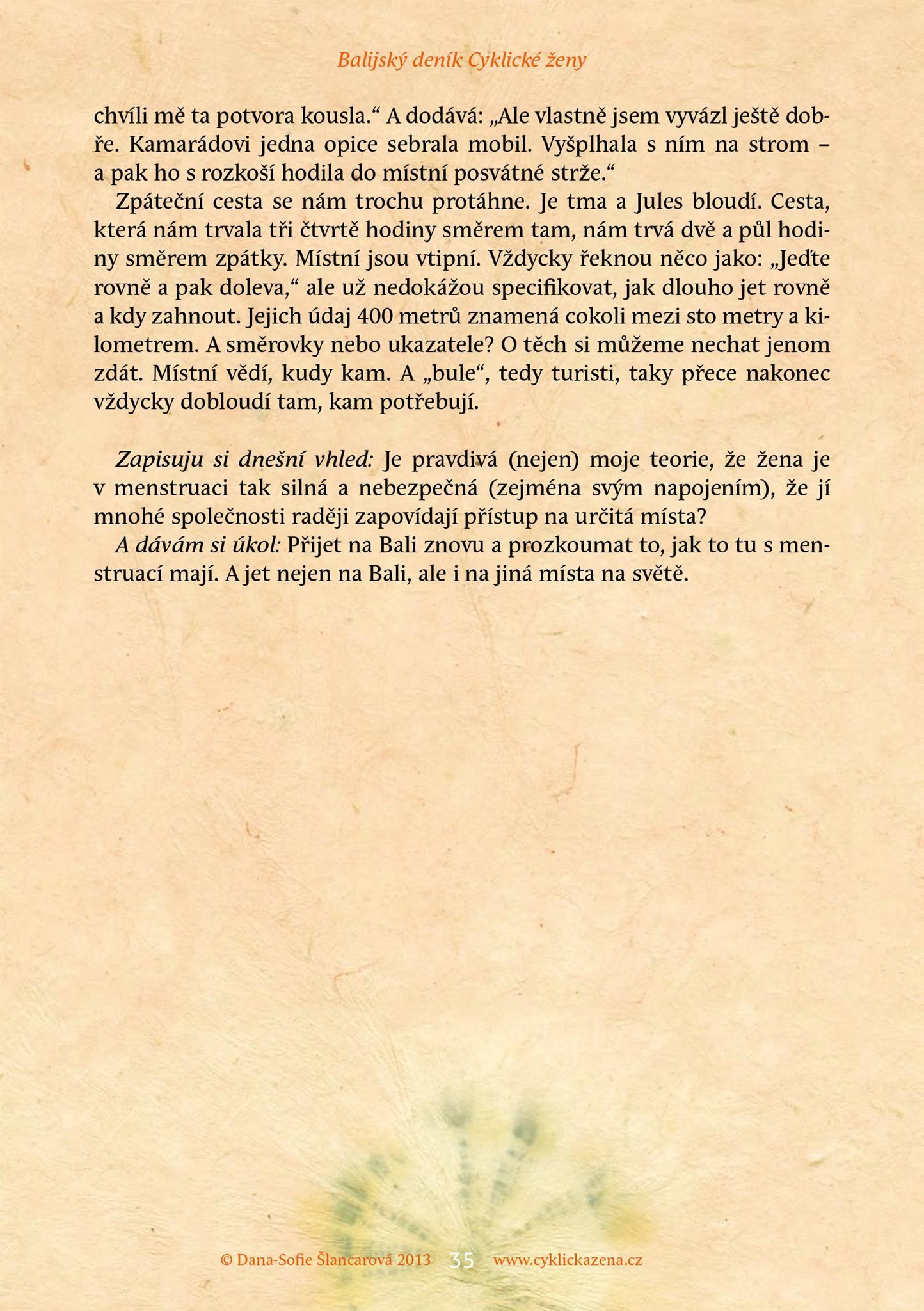 Balijský deník Cyklické ženy, str. 35